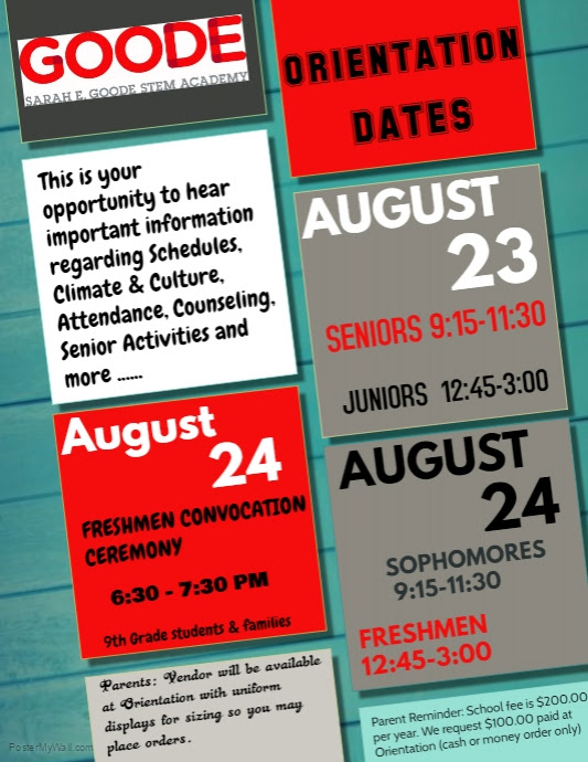 GOODE Orientation Dates: 8/23 8/24