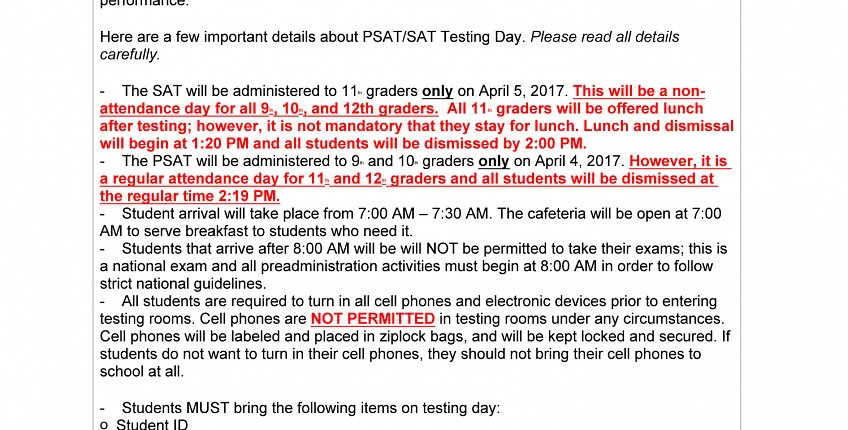 April 4th and 5th, 2017, Chicago Public Schools will be administering the PSAT/SAT to all 9th-11th graders